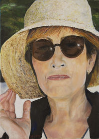 A woman in a straw hat
